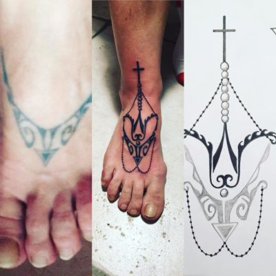 Tattoo chapelet pied