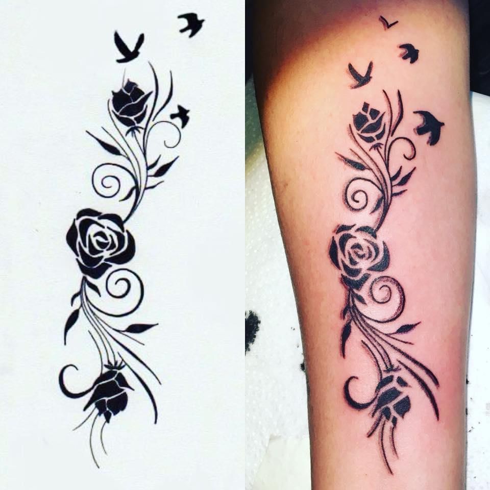 Tatouage Fleur Et Oiseau Tuer Auf