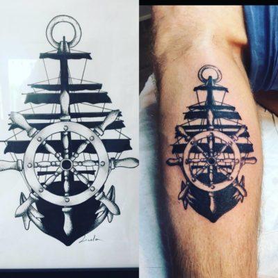 Tattoo bateau mollet